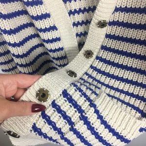J. Crew 100% Cotton Long Knit Cardigan Cream Blue